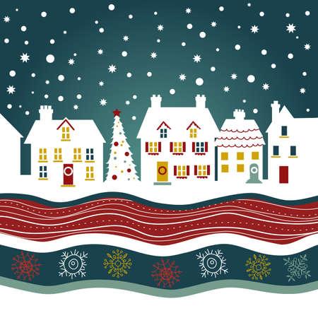 folk village: Christmas card, cute town at christmas time