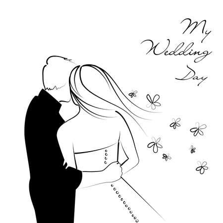 mariage dessin noir et blanc Contexte de mariage en noir et blanc Illustration