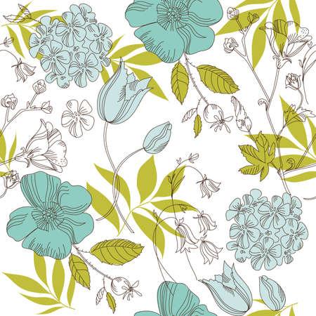 geranium color: seamless vintage flower pattern