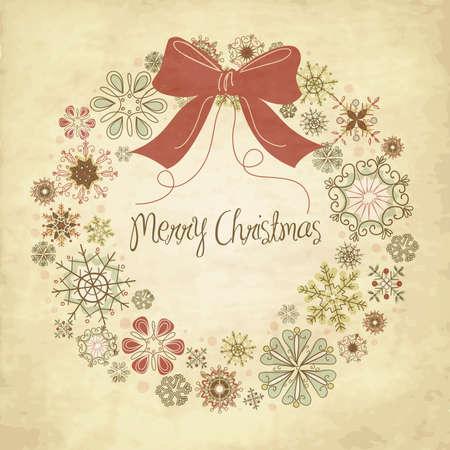 Vintage Christmas Kranz aus Schneeflocken