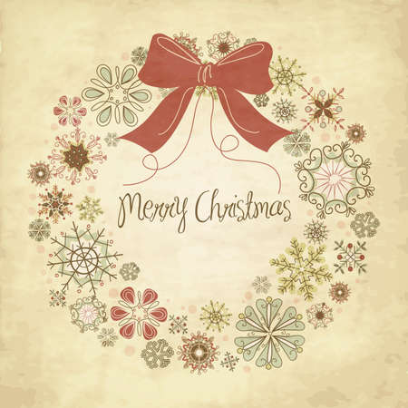 Vintage Christmas wreath made from snowflakes  Vector
