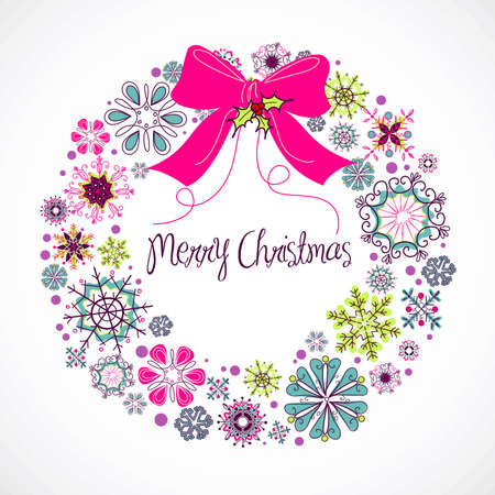 Colourful Christmas wreath made from snowflakes  Illustration