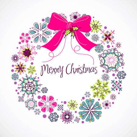 Kleurrijke Kerst krans gemaakt van sneeuwvlokken