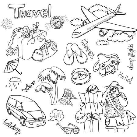 voyage: Griffonnages de voyage. Vector illustration.