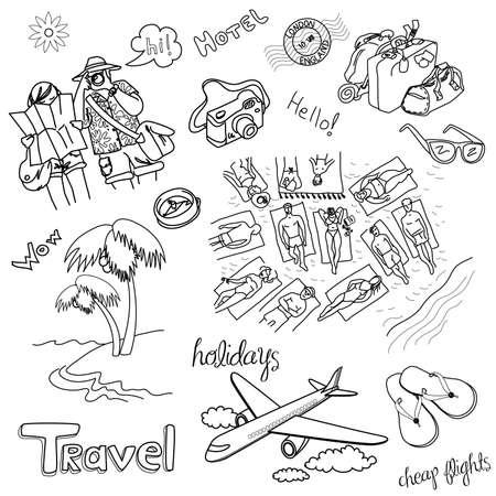 Summer Holidays Doodles! Vector illustration. Vettoriali