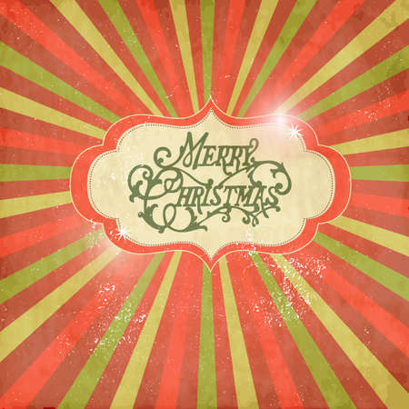 worn sign: Vintage Christmas template, colored sun burst background.