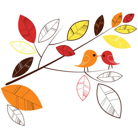 Autumn leaves and two birds kissing Illustration
