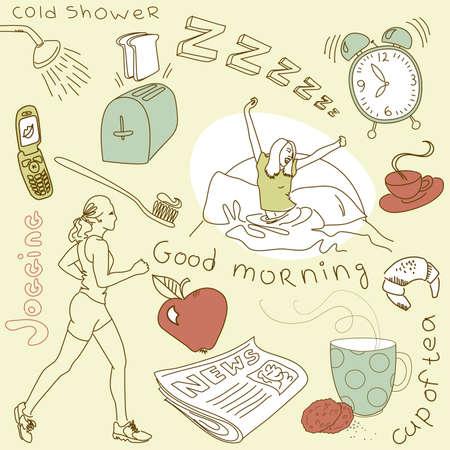 woman sleep: Lunes por la ma�ana garabatos