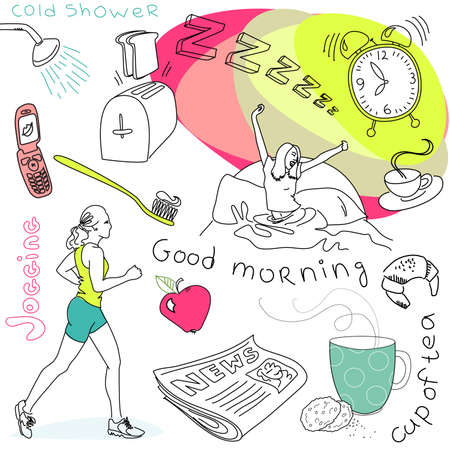 Cute morning doodles  Vector