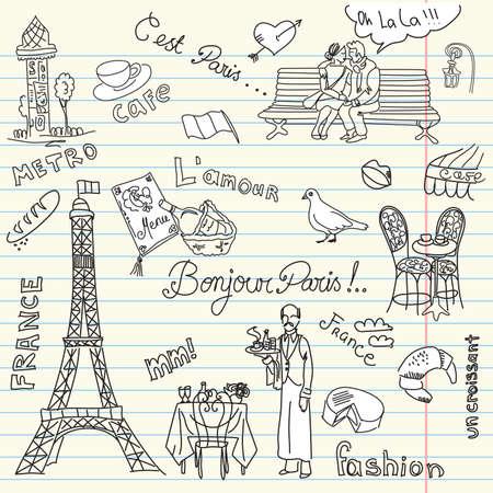 Paris doodles. French cuisine.