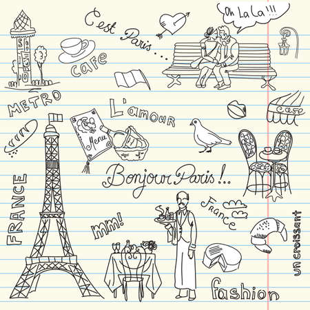 french flag: Paris doodles. French cuisine.