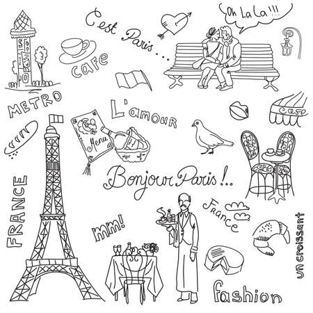 french flag:  Paris doodles. French cuisine. Illustration