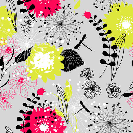 floral ornaments: Retro floral seamless background