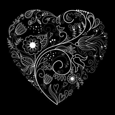 black and white plant:  Black and White Valentine Heart illustration.