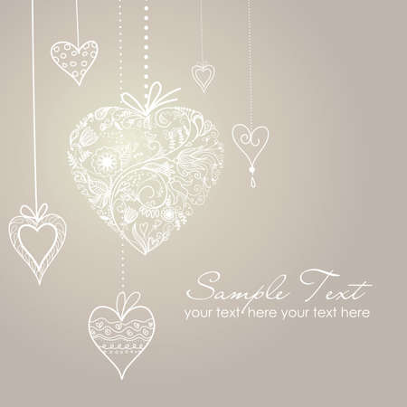 Cute background with decorated hearts Vector