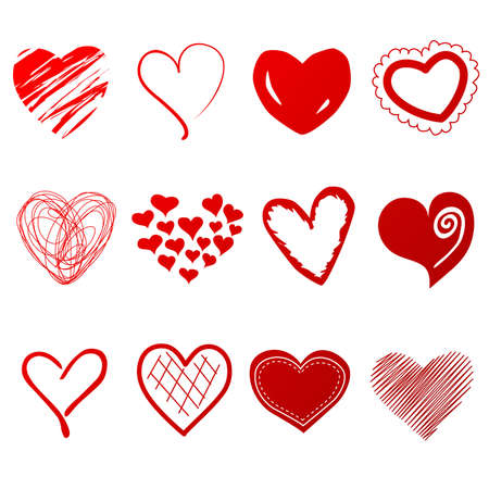 Cute doodles hearts set Vector