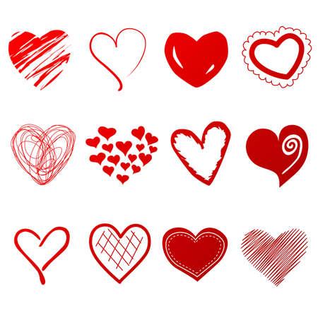 Nette Doodles Herzen gesetzt Vektorgrafik