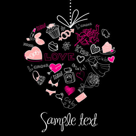boutiques: Valentine heart greeting card. Vector Illustration