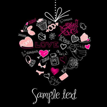 Valentine heart greeting card. Vector Ilustracja