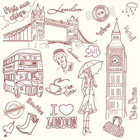 big ben tower: London doodles Illustration