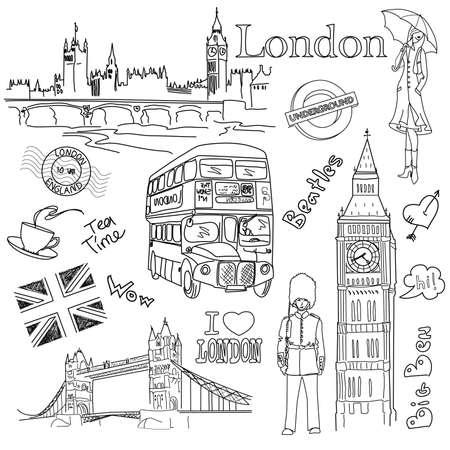 london tower bridge: London doodles Illustration