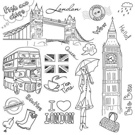 London doodles Vettoriali