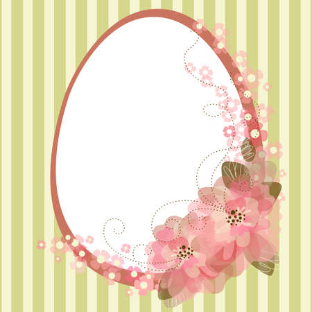 Easter egg with floral elements  Ilustracja
