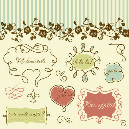 Doodle frames in French style  Vector