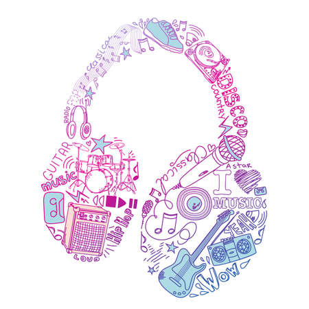 headphones icon: Music Doodles Illustration