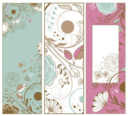 Cute Vertical Retro banners Illustration