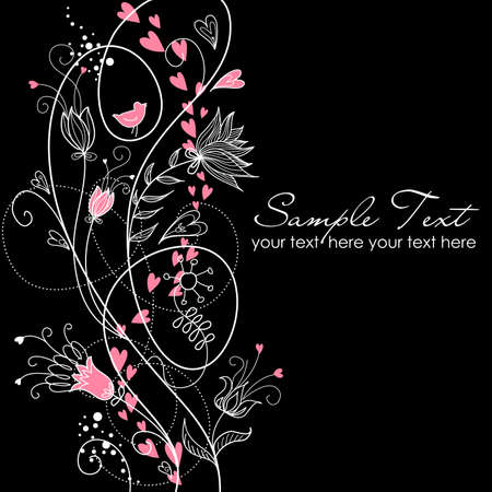 glamorous floral black and white background Ilustracja