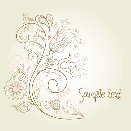 hand drawn flower: Floral greeting card  Illustration