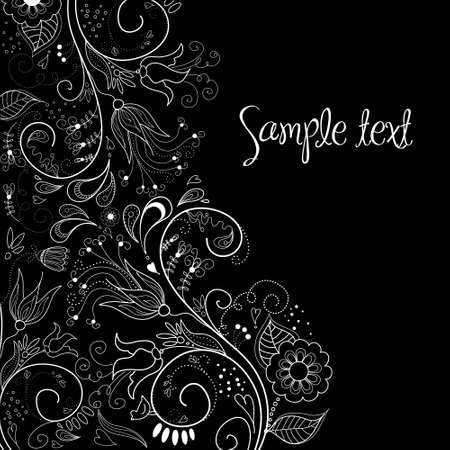Black and White Floral Background Stock Illustratie