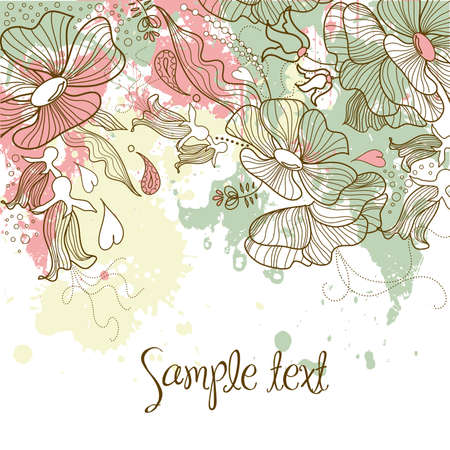 greeting card invitation wallpaper: Beautiful floral background  Illustration
