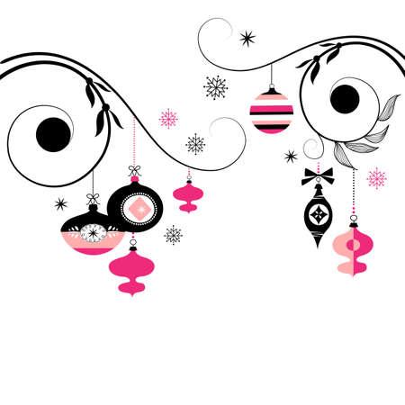 검은 색과 분홍색 크리스마스 장식품