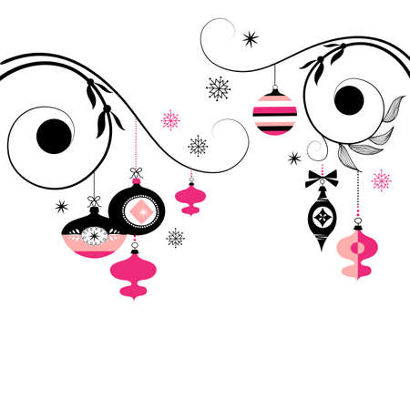 Black and Pink Christmas Ornaments  Stock Vector - 11150329