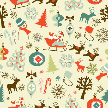 retro christmas: Christmas Seamless Pattern
