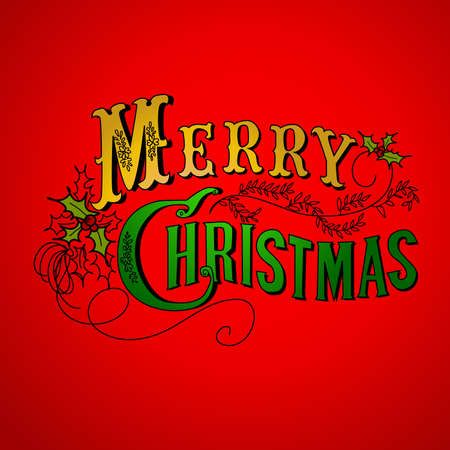 Vintage Christmas Card. Merry Christmas lettering Stock Vector - 11150360