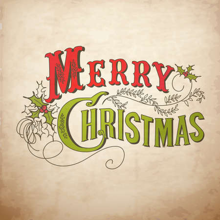 Vintage Christmas Card. Buon Natale lettering Vettoriali
