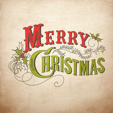 muerdago: Vintage Tarjeta de Navidad. Feliz Navidad letras Vectores