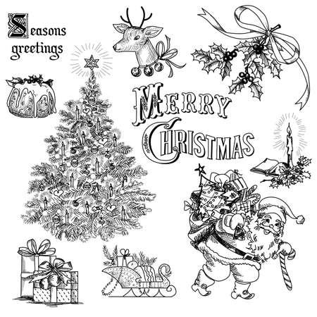 christmas backdrop: Vintage christmas doodles