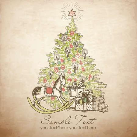 osos navideños: Vintage Tarjeta de Navidad. Hermoso árbol de Navidad ilustración