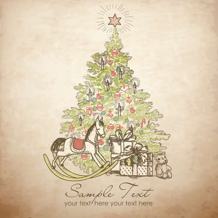 Weinlese-Weihnachtskarte. Schönen Weihnachtsbaum Illustration Vektorgrafik