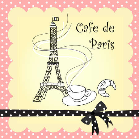 vintage paris: Cafe en Par�s Vectores