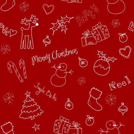 Kerstmis doodles. Naadloze patroon Stock Illustratie