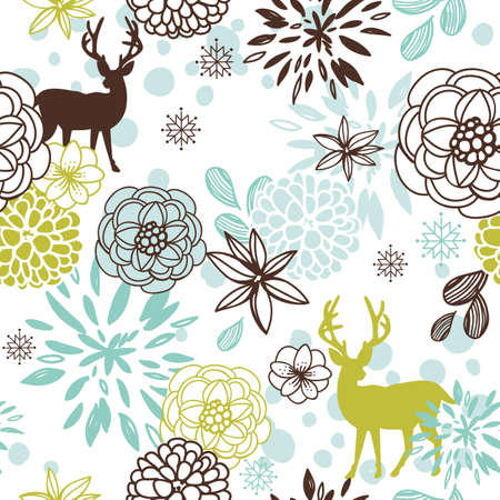 Christmas floral seamless pattern with deers and birds Stock Vector - 11150656