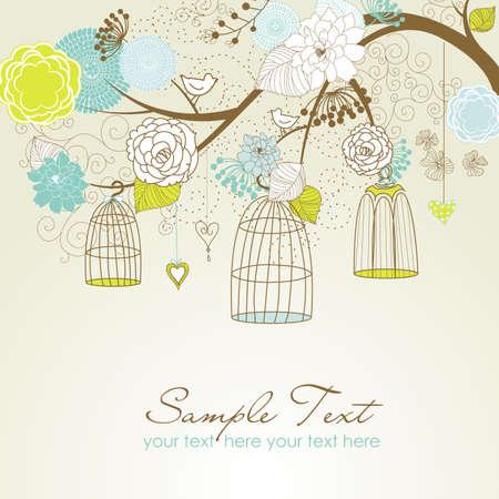 invitacion boda vintage: Antecedentes de verano florales. Aves fuera de su vector concepto de jaulas
