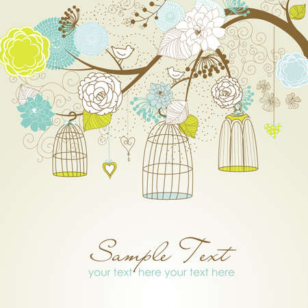 victorian house: Floral summer background. Birds out of their cages concept vector