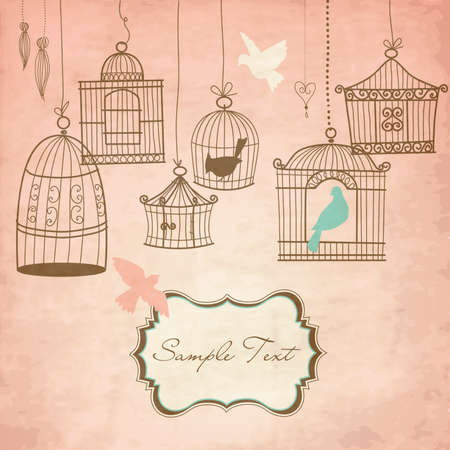 in a cage: Vintage bird cages. Birds out of their cages concept vector