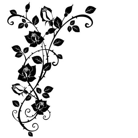 tracery: Vector graphic of Rose with leaves
